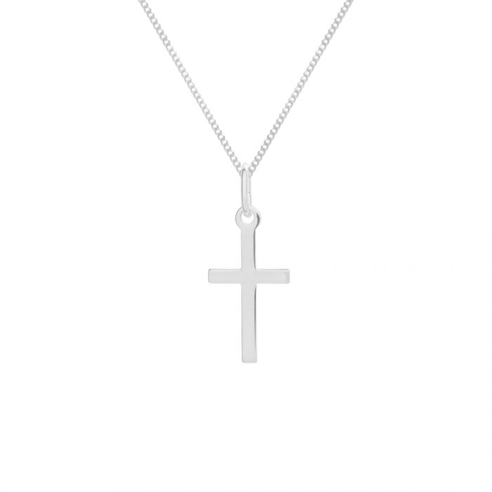 Sterling Silver Medium Cross Necklace with Curb Chain