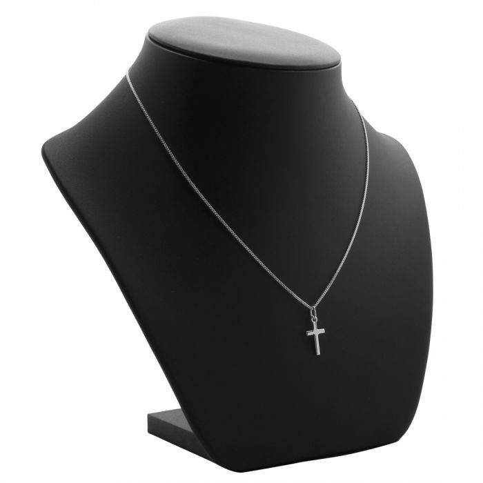 Sterling Silver Small Plain Cross Necklace with Curb Chain