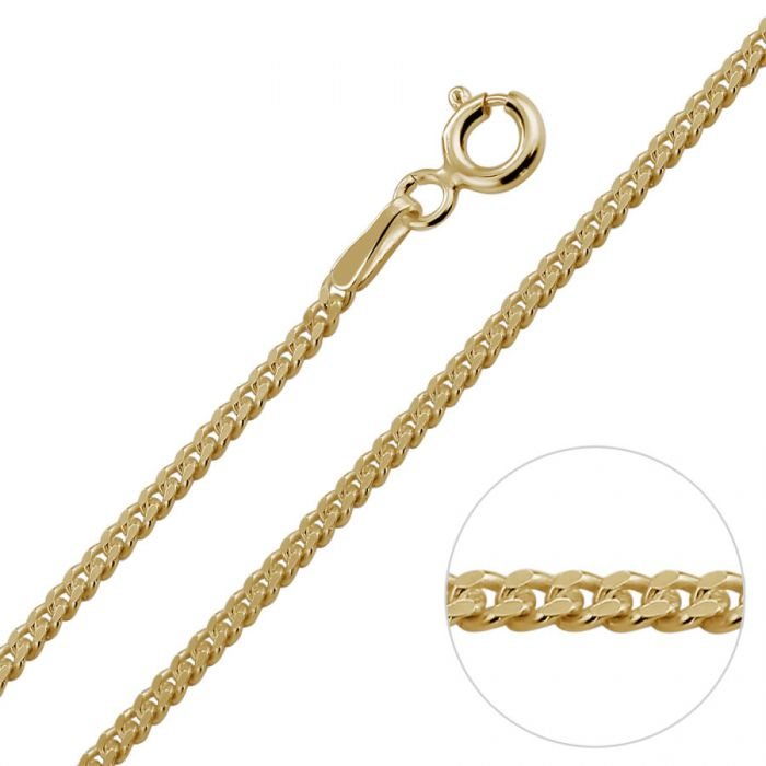1986773c0590d 9ct Yellow Gold Plated 1.8mm Diamond Cut Curb Chain Necklace