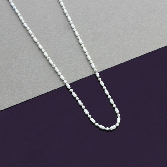 Sterling Silver 1.5mm Diamond Cut Ball and Bar Bead Chain Necklace