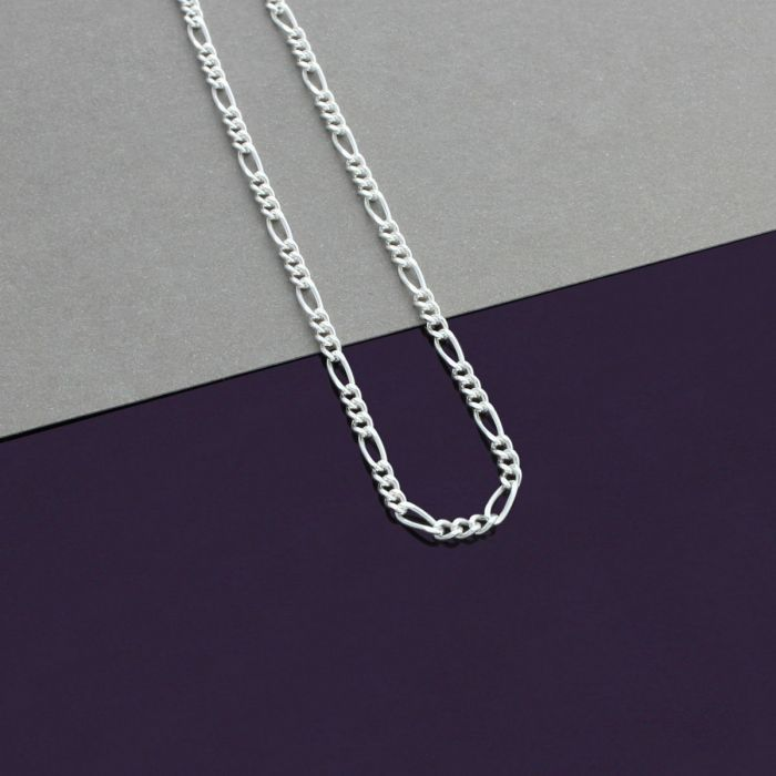 862c90ec9f577 Sterling Silver 2.1mm Diamond Cut Figaro Chain Necklace