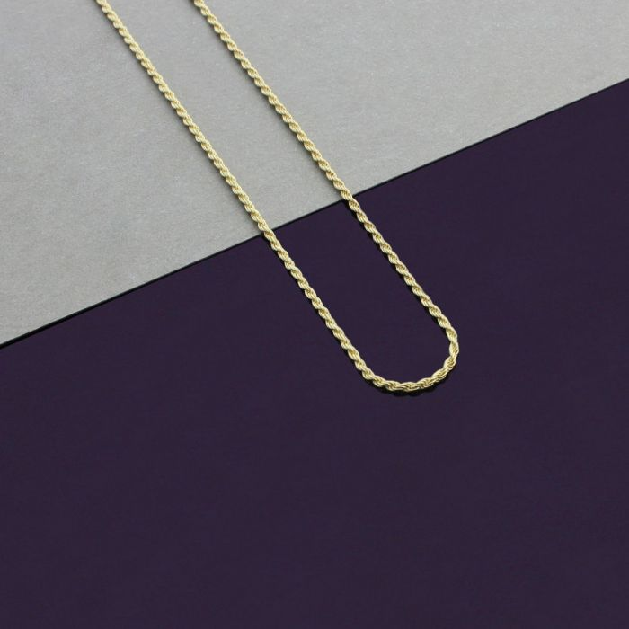 9ct Yellow Gold plated 1.2mm Rope Chain Necklace