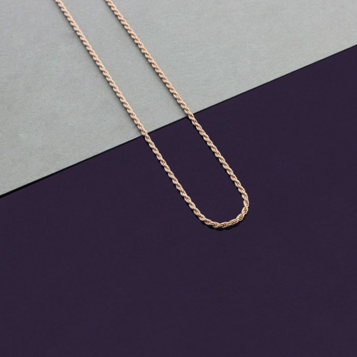 9ct Rose Gold plated 1.2mm Rope Chain Necklace