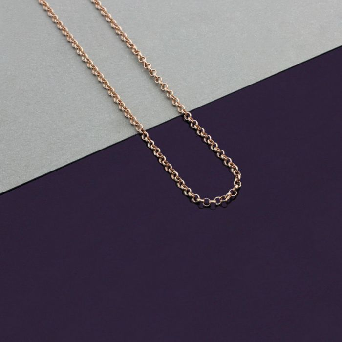 9ct Rose Gold plated 2mm Belcher Rolo Chain Necklace