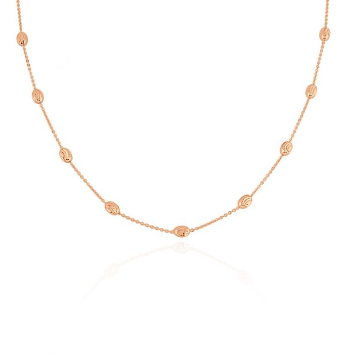 9ct Rose Gold Plated Sterling Silver Oval Beaded Diamond Cut Trace Chain Necklace