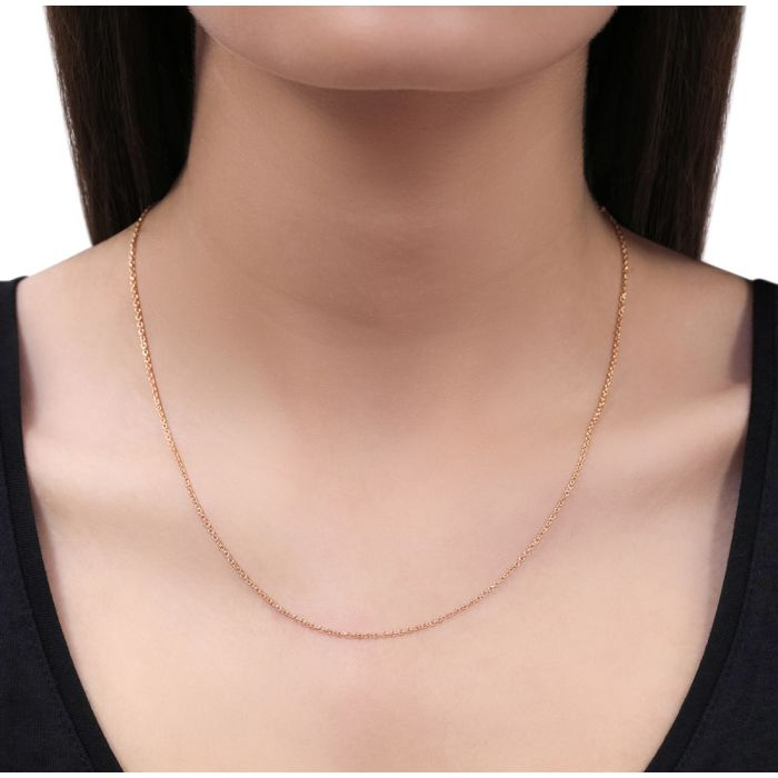 9ct Rose Gold plated 1.5mm Cable Trace Chain Necklace