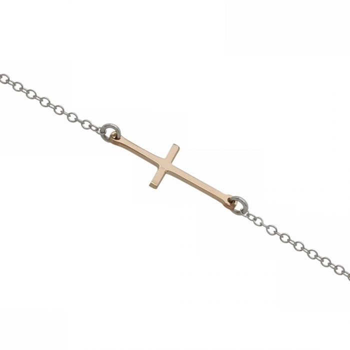 Sterling Silver Sideways Cross Rose Gold Plated Extendable Bracelet