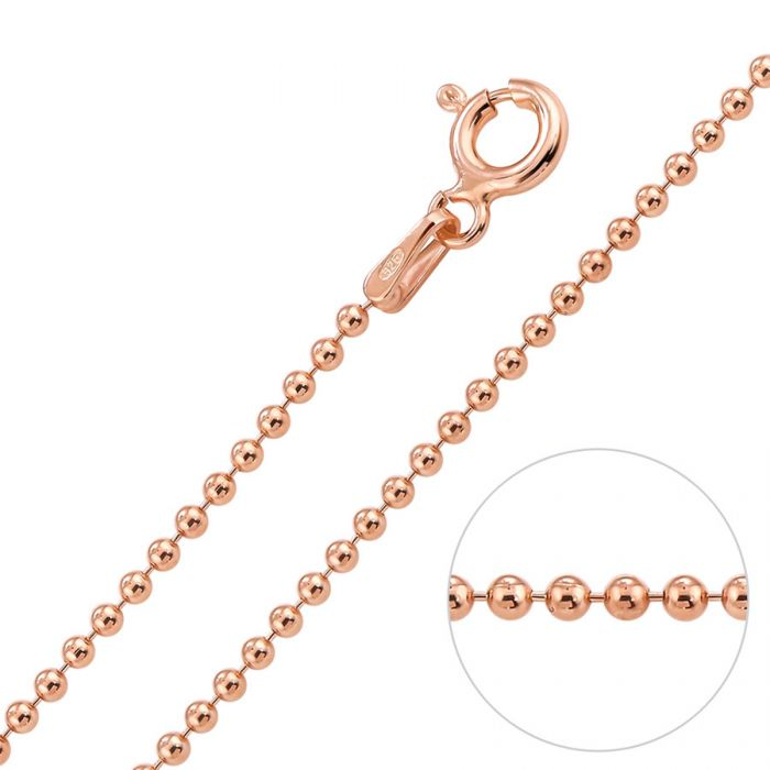 82d21530dd21b 9ct Rose Gold plated 1.5mm Ball Bead Chain Necklace