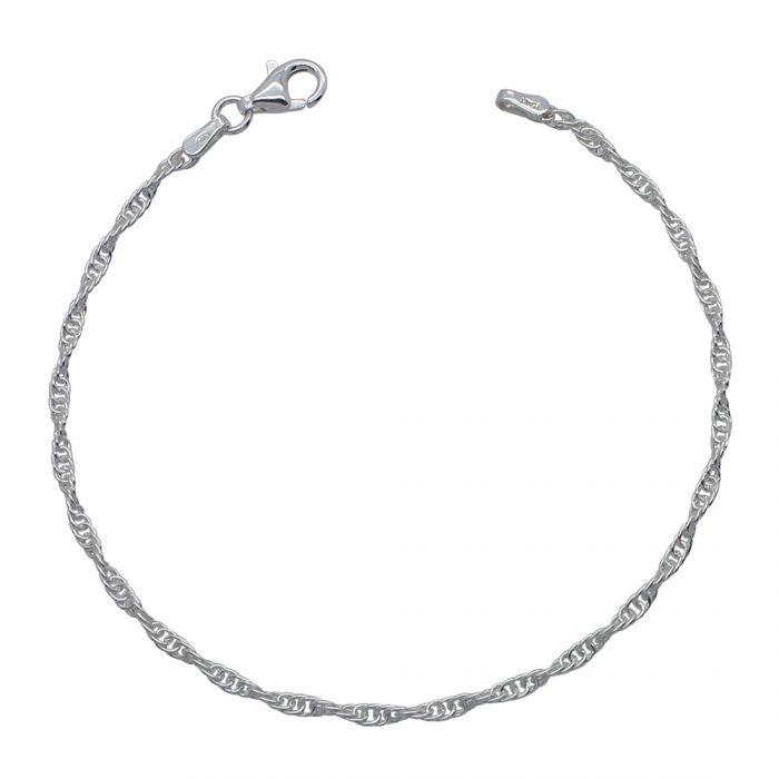 Sterling Silver 2mm Loose Rope / Prince of Wales Bracelet
