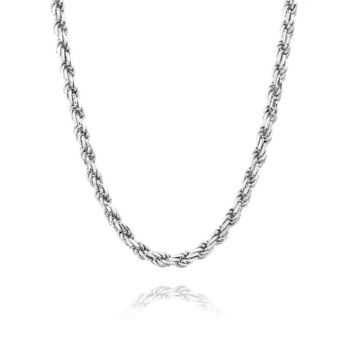 Sterling Silver 4.7mm Diamond Cut Rope Chain Necklace Thick