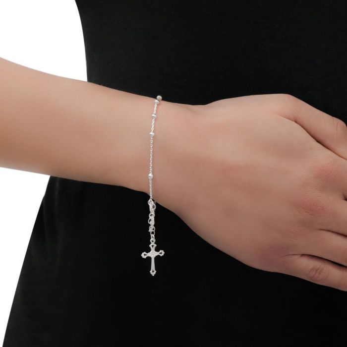 Sterling Silver Rosary Cross Beaded Trace Bracelet Extendable