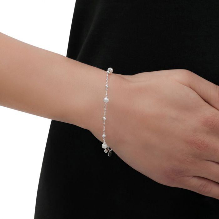 Sterling Silver Faux Pearl Beaded Charm Extendable Bracelet