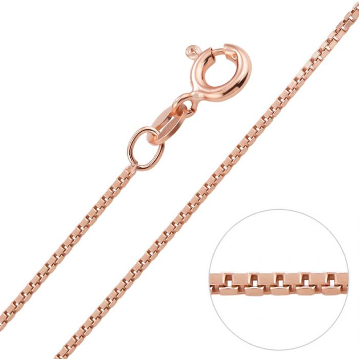 ae417a753f8ba 9ct Rose Gold plated 1mm Box Chain Necklace
