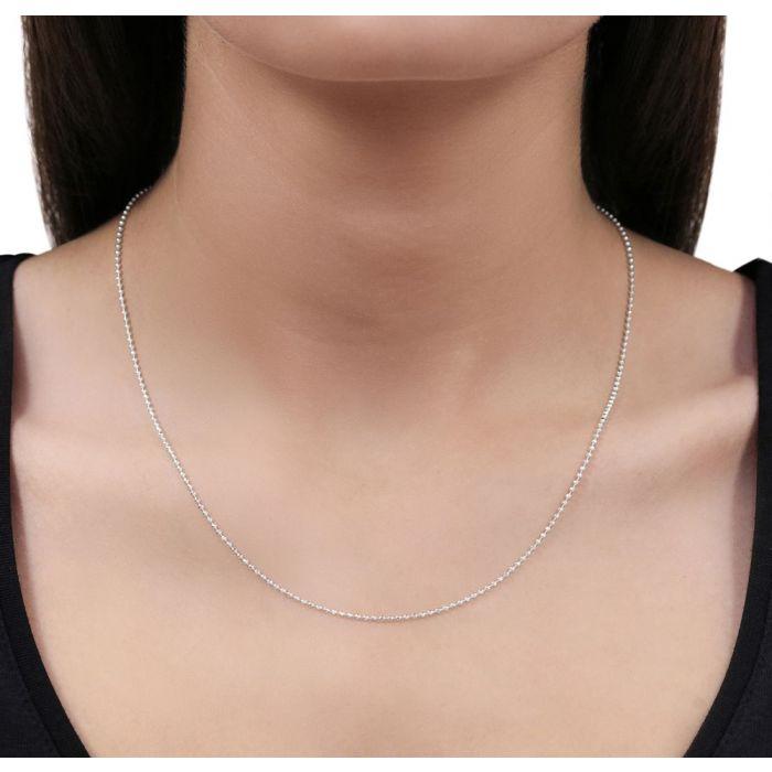 b83420fb1725c Sterling Silver 1.5mm Diamond Cut Ball Bead Chain Necklace