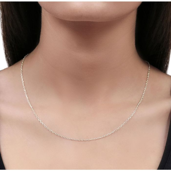 Sterling Silver 2mm Diamond Cut Cable Trace Chain Necklace