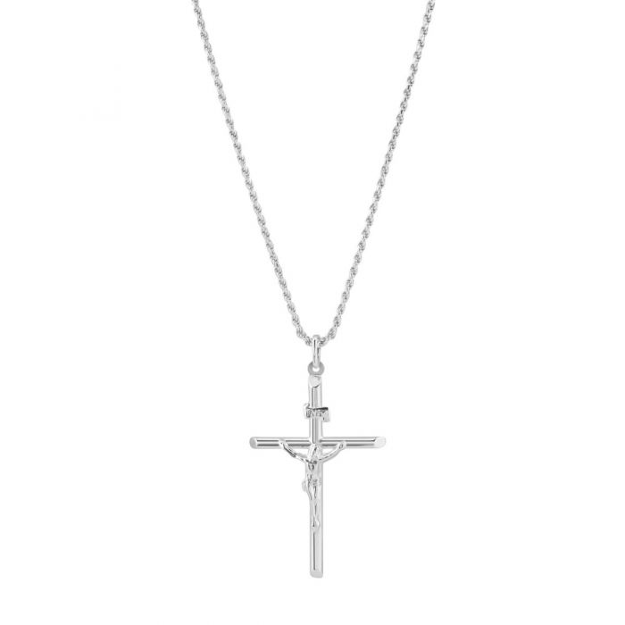 Sterling Silver Large Cross Crucifix Necklace with Rope Chain