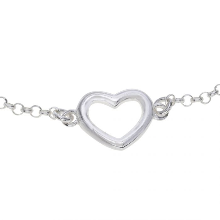 Sterling Silver Heart on Extendable Belcher Link Bracelet