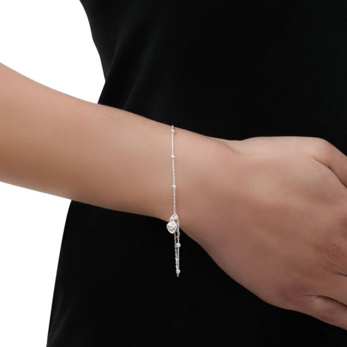 Sterling Silver Puffy Heart on Extendable Beaded Trace Bracelet