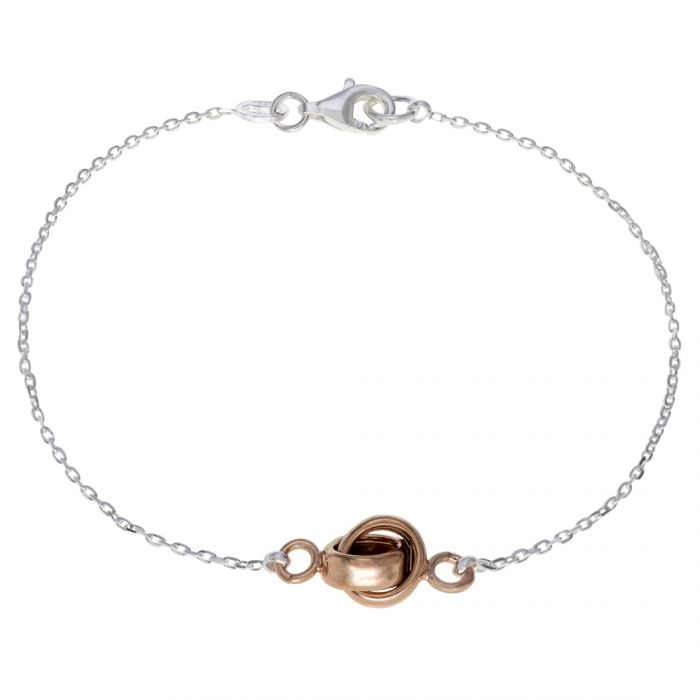 Sterling Silver Infinity Circle Knot Charm Bracelet 7.5