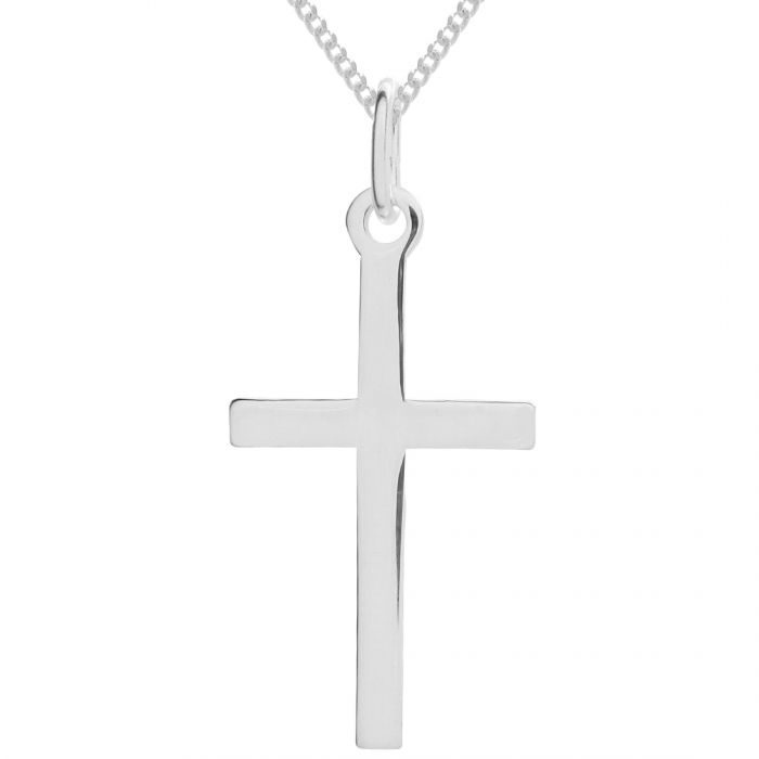 Sterling Silver Large Plain Cross Necklace with Curb Chain 18