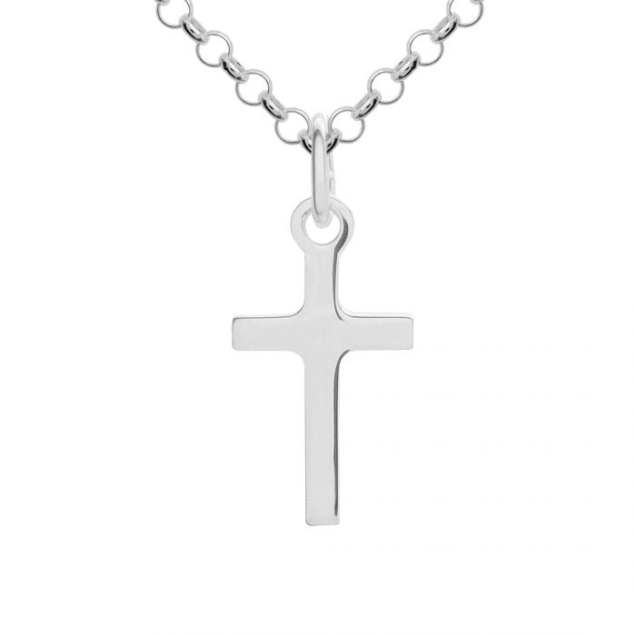 Sterling Silver Small Plain Cross Necklace with Chain