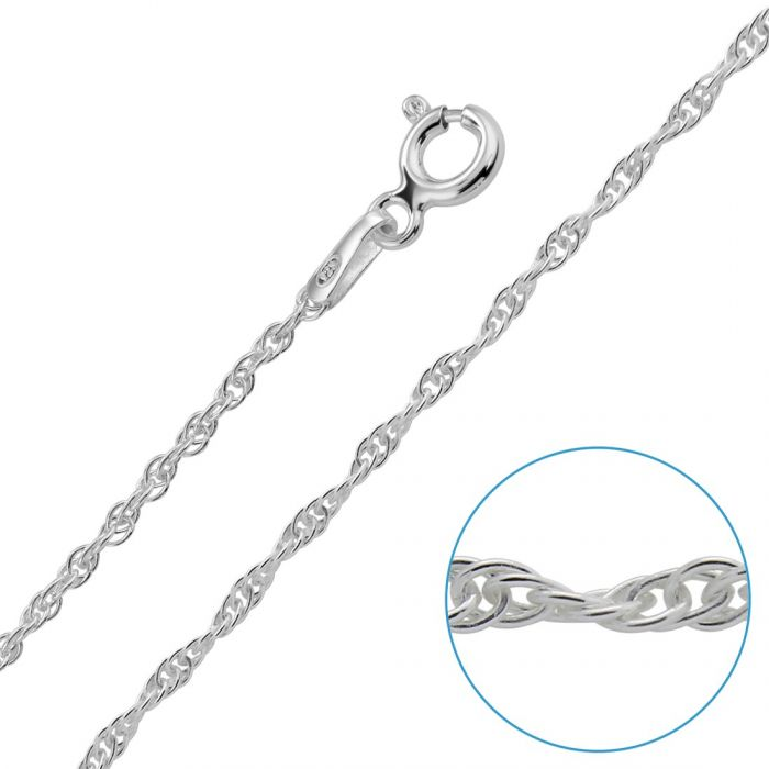 Sterling Silver 1.5mm Loose Rope Prince Of Wales Chain Necklace