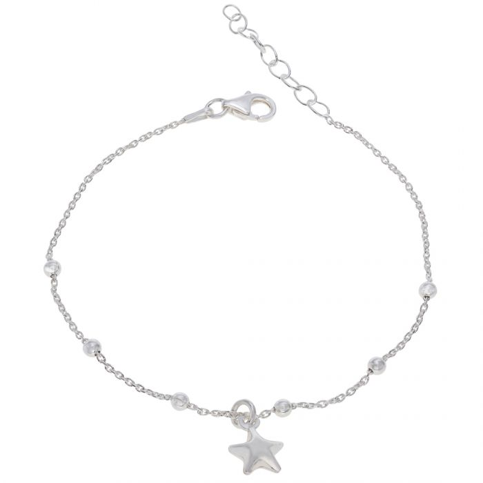 Sterling Silver  Puffy Star Beaded Extendable Trace Bracelet