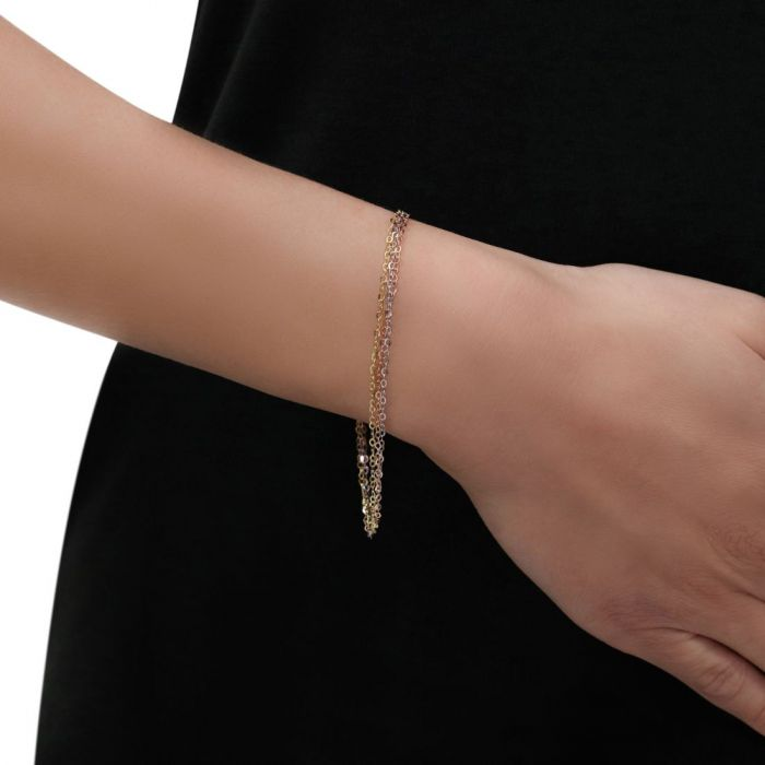 Sterling Silver Rose Yellow Gold Layered Extendable Bracelet