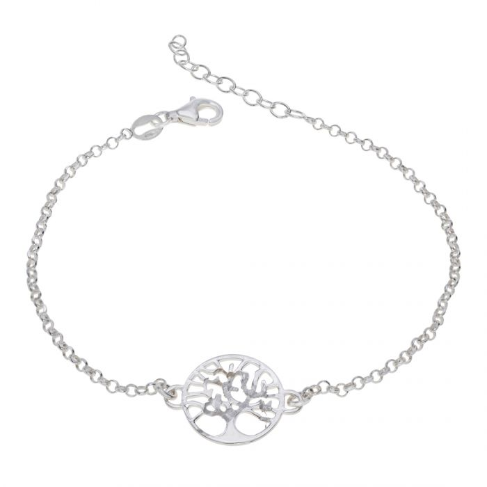 Sterling Silver Tree Of Life Extendable Belcher Bracelet