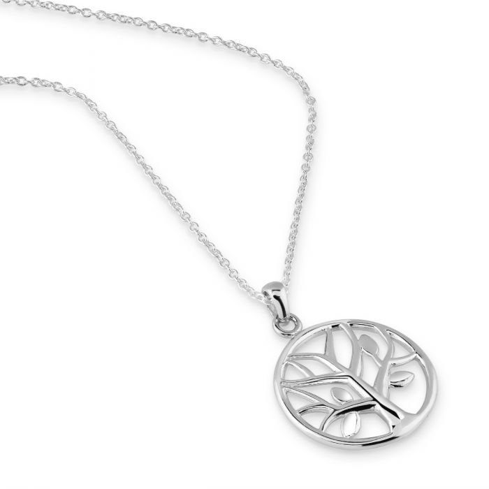Sterling Silver Round Tree of Life Necklace with Cable Chain