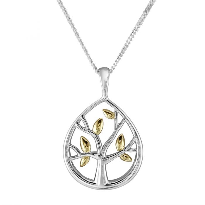 Sterling Silver Dew Drop Tree of Life Necklace with Cable Chain