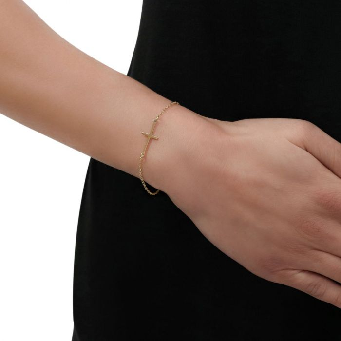 Sterling Silver Sideways Cross Yellow Gold Plated Extendable Bracelet