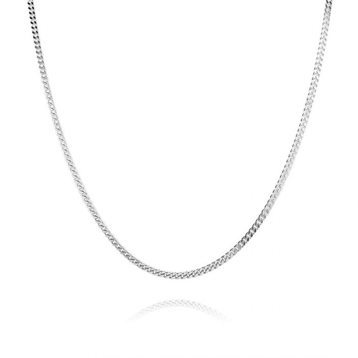 Sterling Silver 1.8mm Diamond Cut Curb Chain Necklace