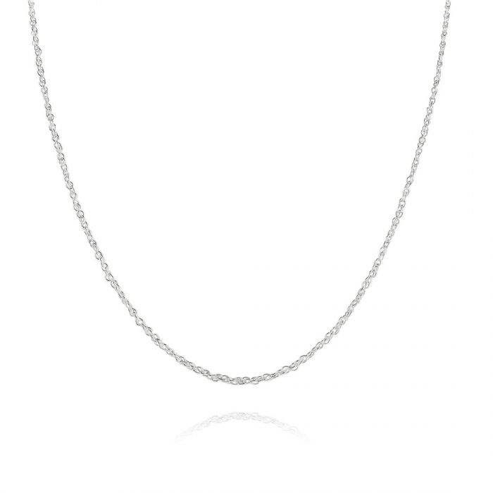 Sterling Silver 1mm Fine Loose Rope Prince Of Wales Chain Necklace