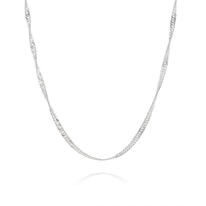 Sterling Silver 2mm Diamond Cut Singapore Chain Necklace