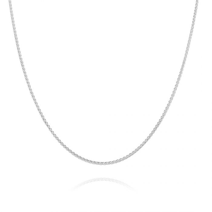 Sterling Silver Fine 1mm Spiga Wheat Chain Necklace