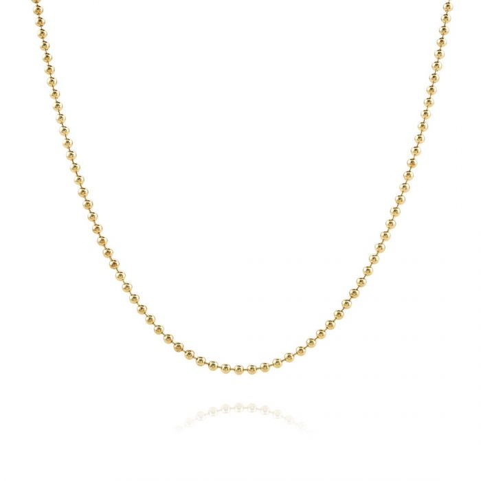 9ct Yellow Gold plated 1.5mm Ball Bead Chain Necklace