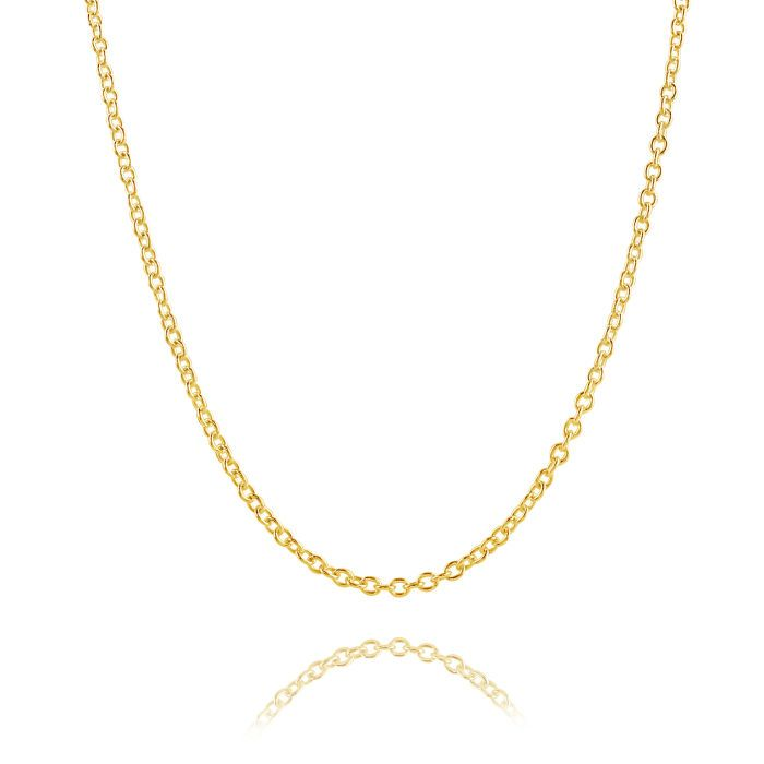9ct Yellow Gold Plated 2mm Cable Trace Chain Necklace