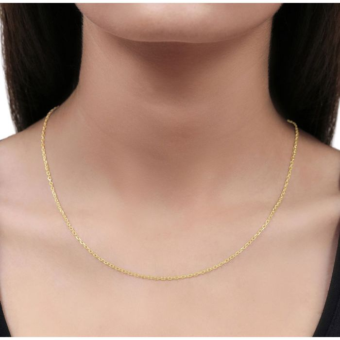 9ct Yellow Gold Plated 2mm Diamond Cut Cable Trace Chain Necklace