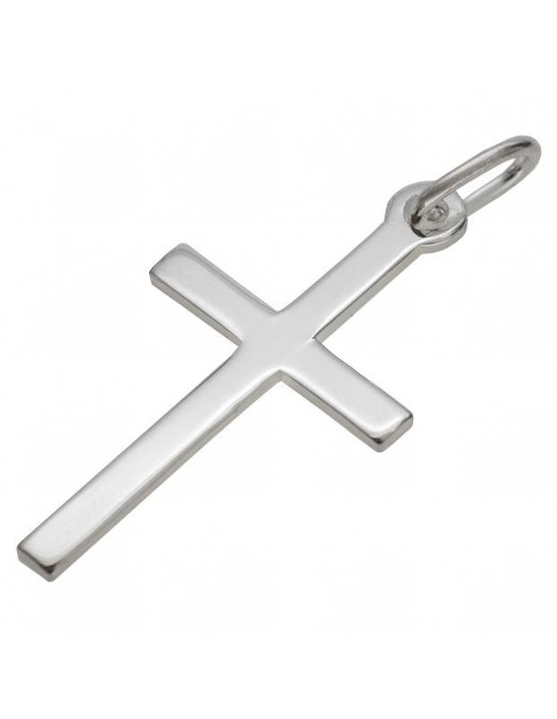 Sterling Silver Polished Plain Large Cross Pendant