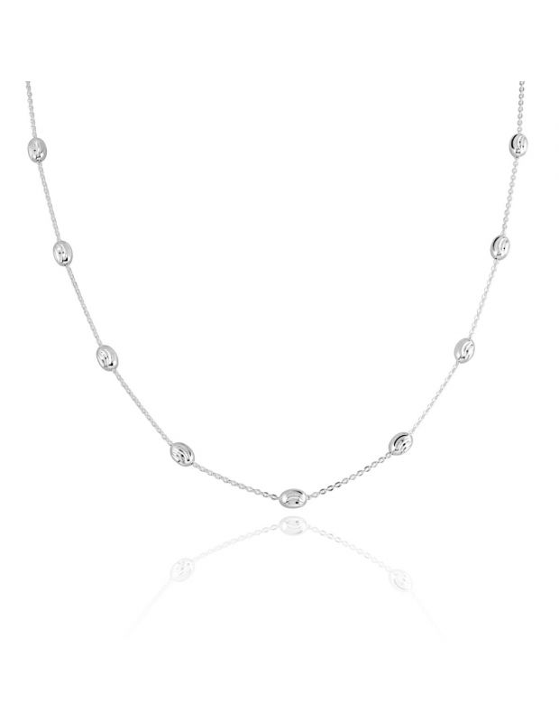 Sterling Silver Oval Beaded Diamond Cut Trace Chain