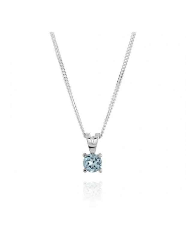 Sterling Silver December Blue Topaz Birthstone Necklace with Curb Chain