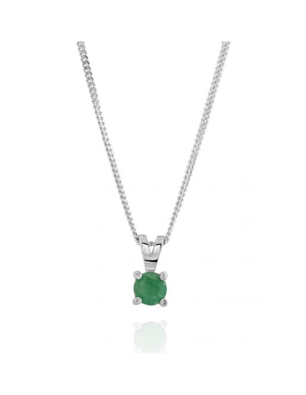 Sterling Silver May Emerald Birthstone Necklace with Curb Chain