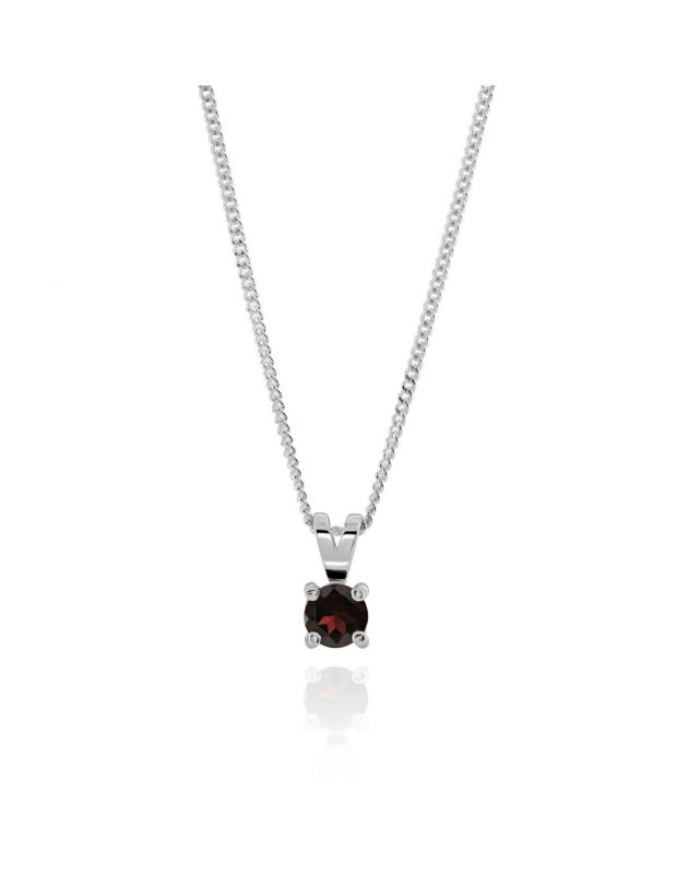 Sterling Silver January Garnet Birthstone Necklace with Curb Chain