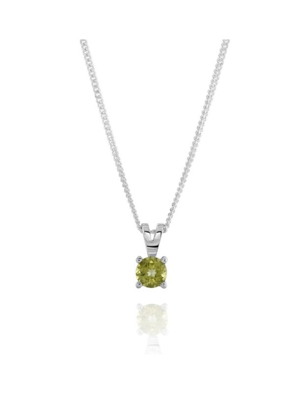 Sterling Silver August Peridot Birthstone Necklace with Curb Chain