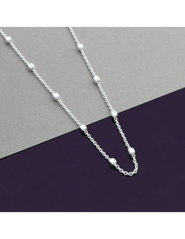Sterling Silver 1.2mm Cable Chain Bobble Necklace with Cube Beads