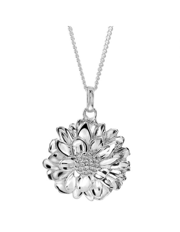 Sterling Silver NOVEMBER CHRYSANTHEMUM Necklace with Curb chain