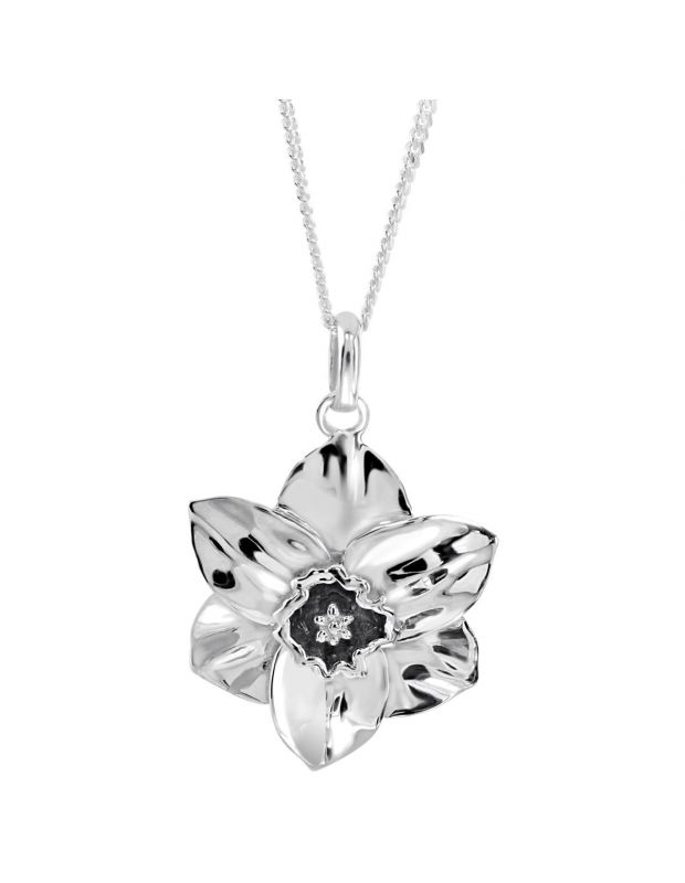 Sterling Silver DECEMBER NARCISSUS Necklace with Curb chain
