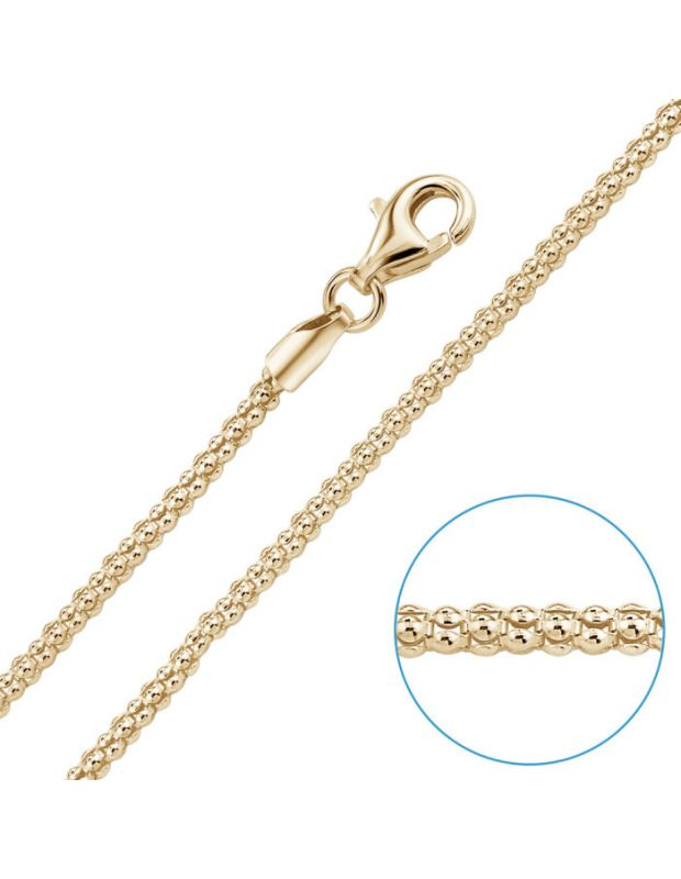 9ct Yellow Gold Plated 2mm Popcorn Chain Necklace