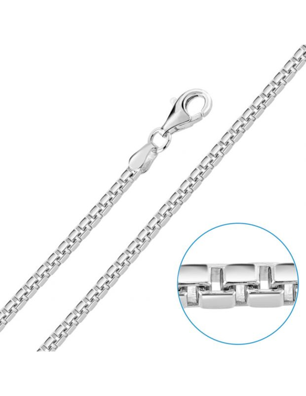 Sterling Silver 2.3mm Box Chain Necklace Diamond Cut